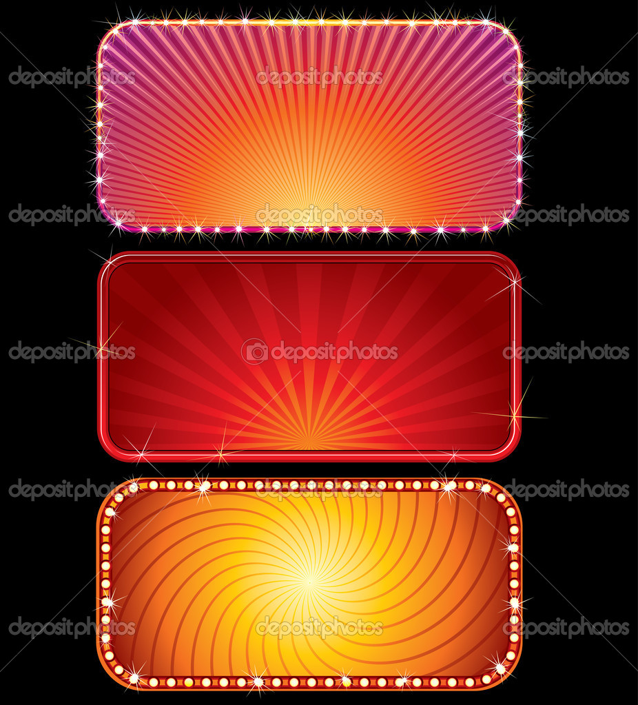 Set of vector brightly lit billboards (only gradients) — Stock Vector #3708266