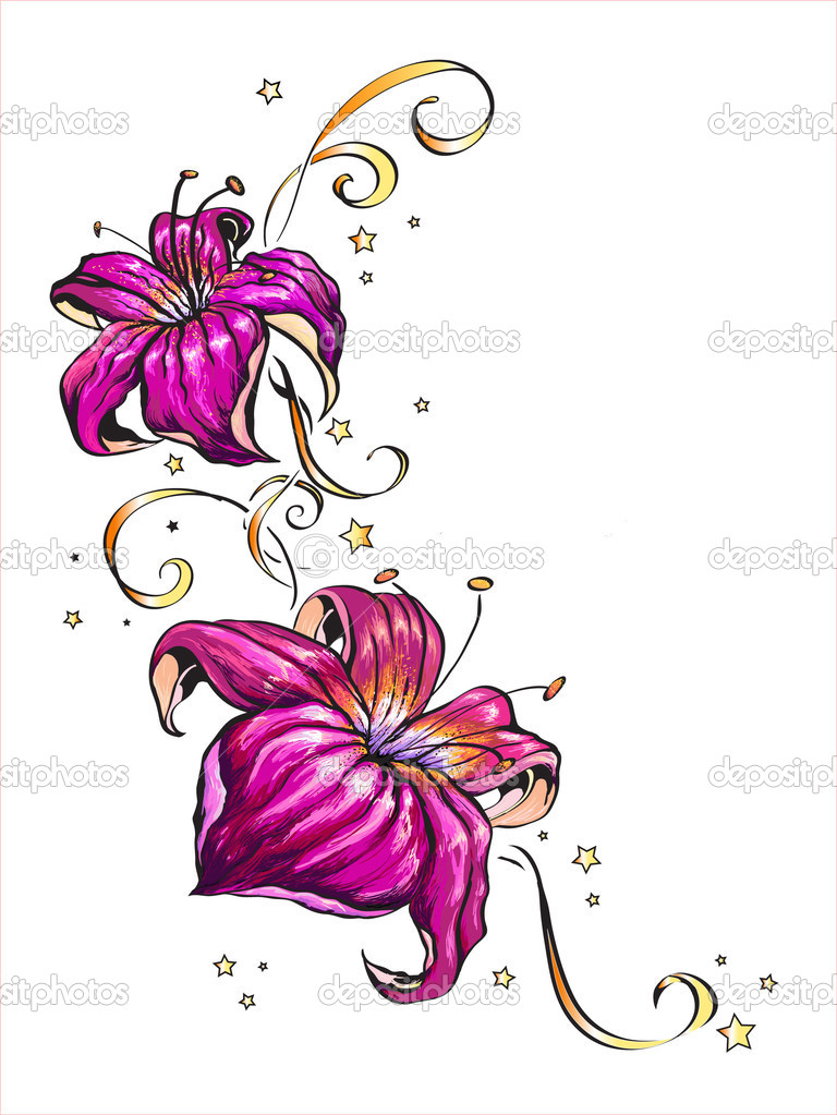 Vector illustration of two pink flowers and small stars isolated on white background. — Stock Vector #3124462