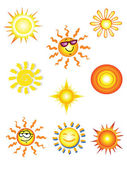 Collection of nine solar icons on a white background. — Stock Vector