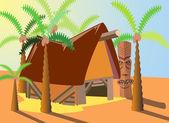 Tropical courtyard — Stock Vector