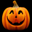 Orange Halloween pumpkin isolated on black. — Stock Photo
