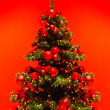 Stock Photo: Green Christmas tree on red background.