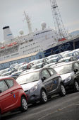 Cars and ship — Stock Photo