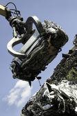 Lifted scrap car — Stock Photo