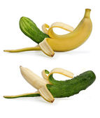 Banana and cucumber — Stock Photo