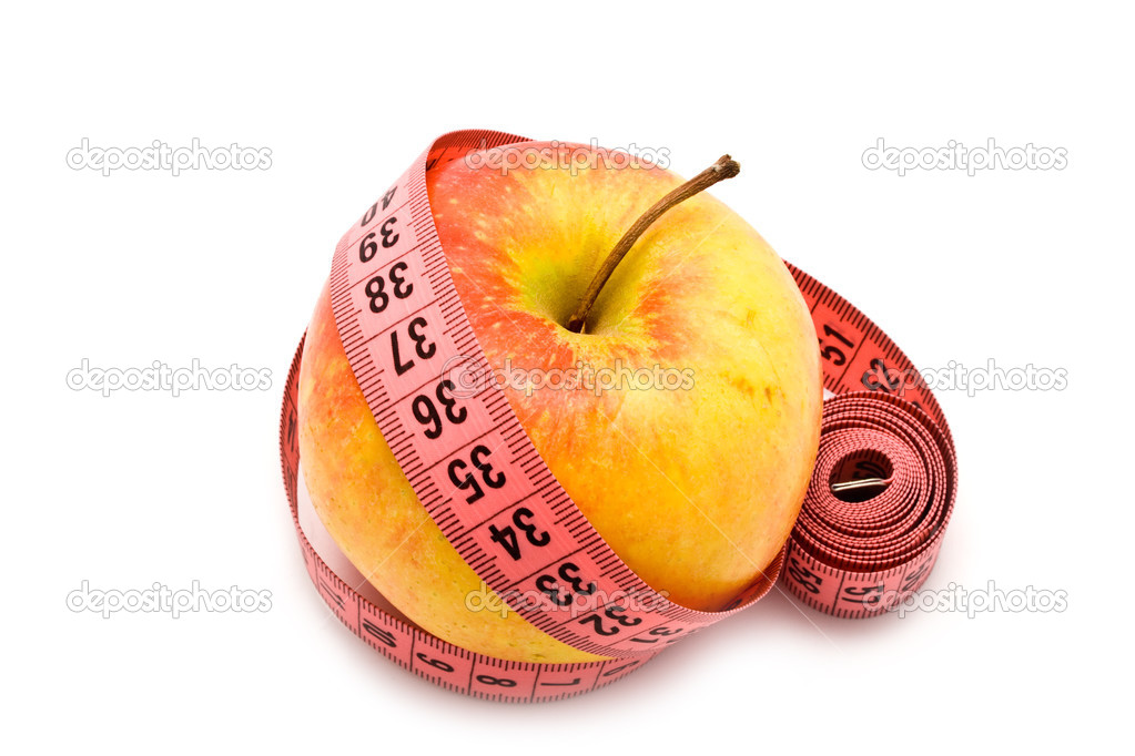 Apple and meter on a white background for your illustrations — Stock Photo #3168121