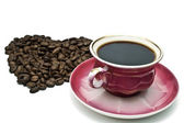 Heart with the cup of coffee — Stock Photo