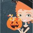 Royalty-Free Stock Vector Image: Halloween witch with candy background