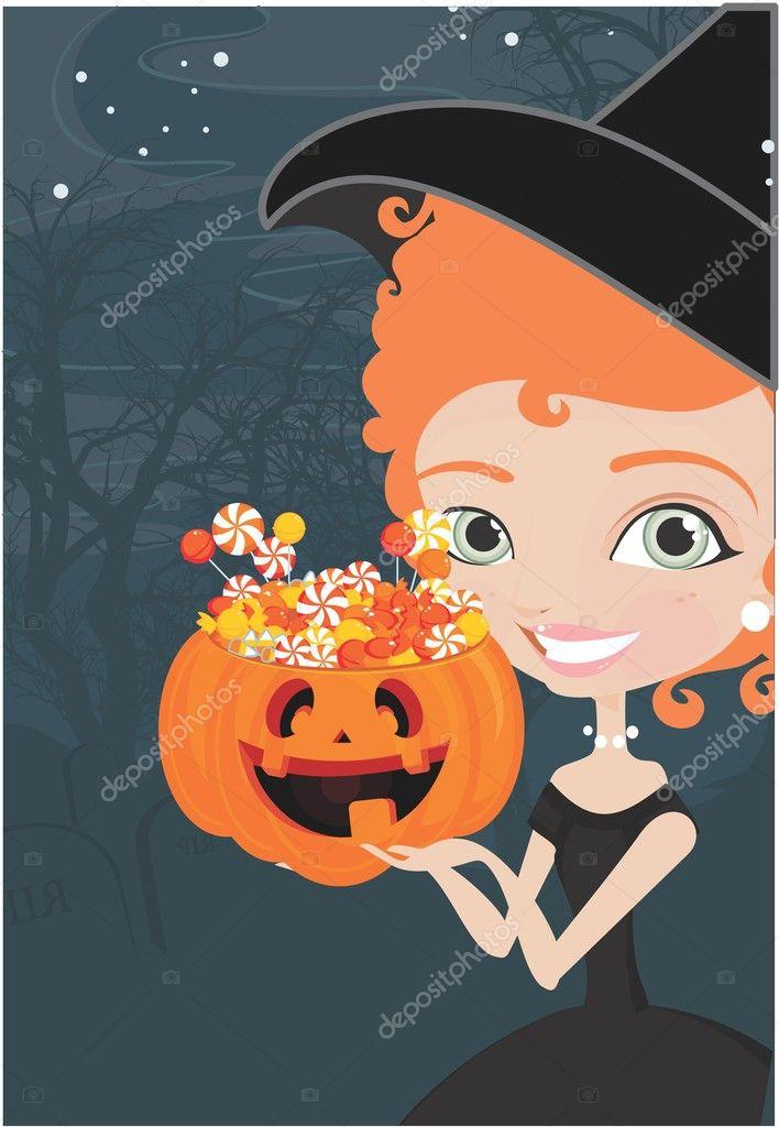 萬圣節女巫與糖果背景