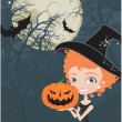 Stock Vector: Cute Halloween witch