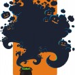 Stock Vector: Halloween background with cauldron