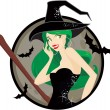 Stock Vector: Halloween witch