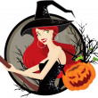 Halloween witch — Stock Vector