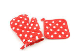 Red with white dotted potholder isolated on white background — Stock Photo