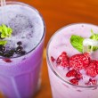 图库照片: Two fresh fruit smoothies