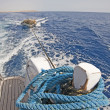 Stern of a motor yacht with a wake — Lizenzfreies Foto