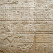 Foto Stock: Hieroglyphics on wall at Luxor Temple