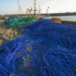 Stock Photo: Fishing nets on quayside