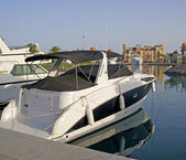 Motor yachts moored in a marina — Stock Photo