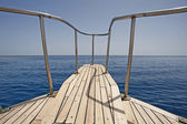 View from the bow of a sailing boat — Stock Photo