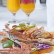 Seafood meal of crab and shrimp - ストック写真