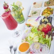 Selection of fresh salads in a restaurant - ストック写真