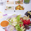 Selection of fresh salads in a restaurant — Foto Stock