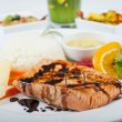 Salmon steak a la carte - ストック写真