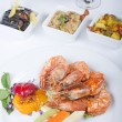 Tiger shrimp a la carte meal - ストック写真