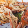 Seafood meal of crab and lobster — 图库照片