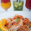 Shrimp and pasta meal - ストック写真