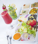 Selection of fresh salads in a restaurant — Stock Photo