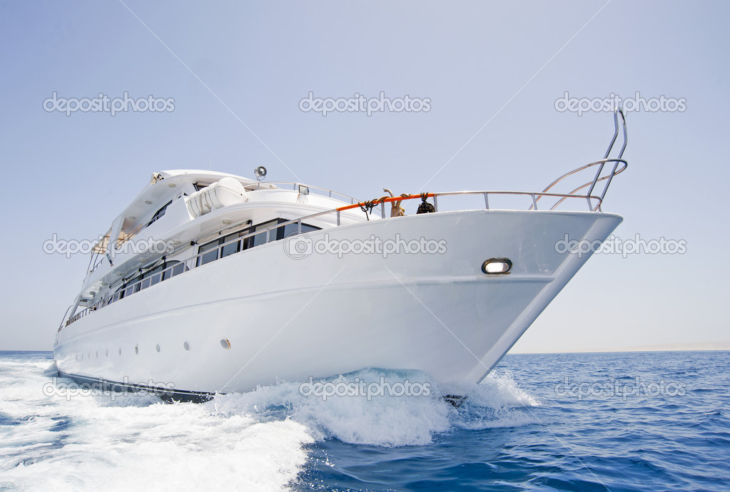 A large private motor yacht under way out at sea — Stock Photo #3350807