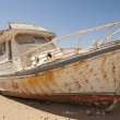 Stock Photo: Abandoned boat in desert