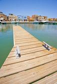 Small private jetty in a marina — Stock Photo