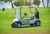 Carrinho de golfe em um fairway — Foto Stock