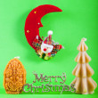 Merry christmas sign with xmas candles — Foto Stock