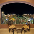 Sea view at night from a hotel room balcony — Stock Photo