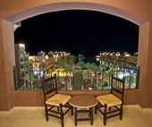 Sea view at night from a hotel room balcony — Stok fotoğraf