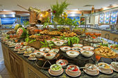Salad buffet in a luxury hotel restaurant — Stok fotoğraf