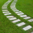 Curve way on grass - Stock Photo