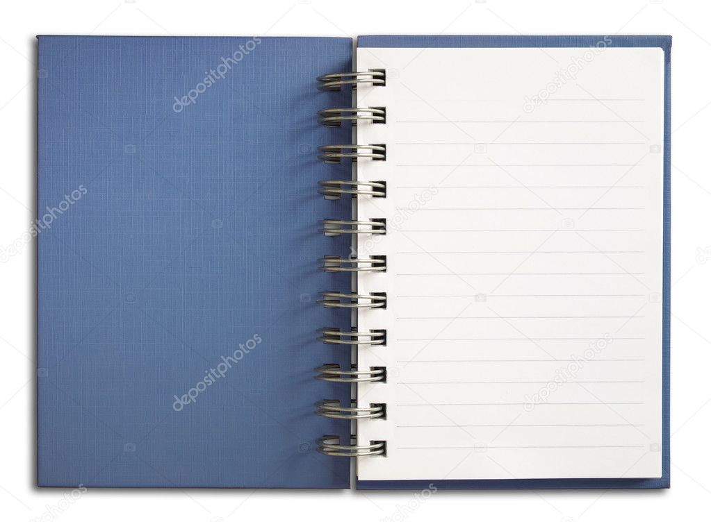 Blue Notebook vertical single white page Isolated — Stock Photo #3800539