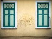 Old green closed window — Stock Photo