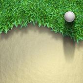 Yeşil çimenlerin üzerinde beyaz golf topu — Stok fotoğraf
