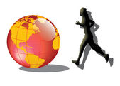 Running to the world — Stock Photo