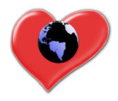 Heart with earth globe — Stock Photo