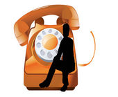 Orange telephone — Stock Photo