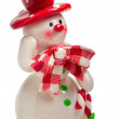 Toy christmas snowman isolated — Stock Photo