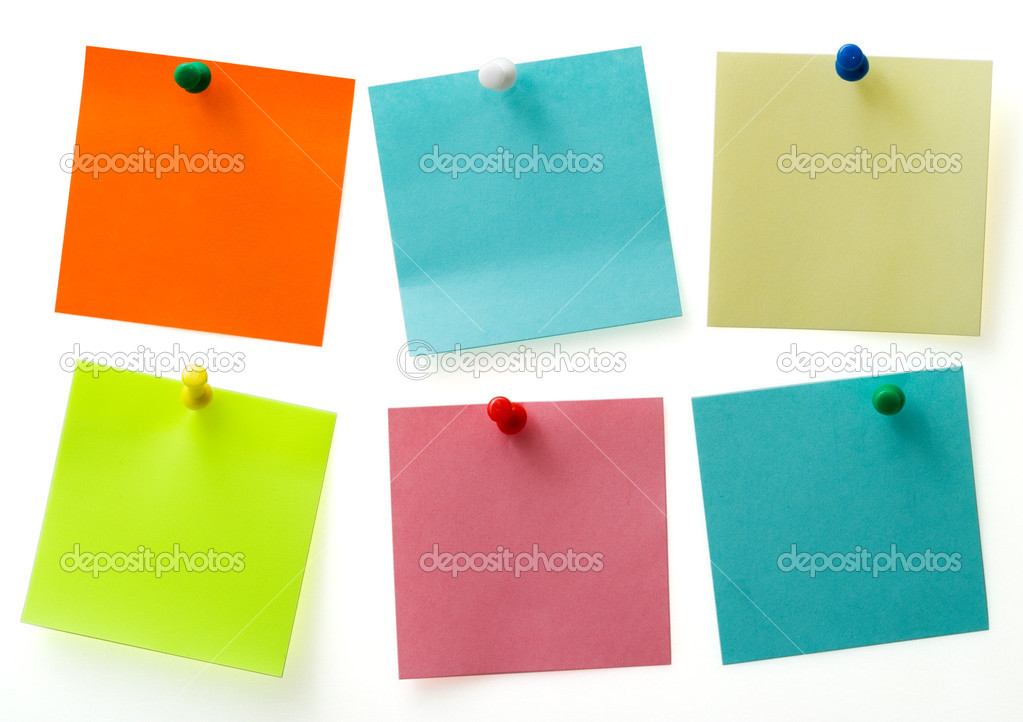 A different color post it notes with spins isolated with clipping path. Studio light. Natural shade.   Stock Photo #3201893