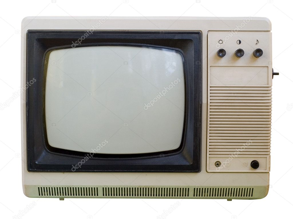 The old TV isolated on a white background. The switch channels in the side of the hull. No remote control. — Stock Photo #3202007
